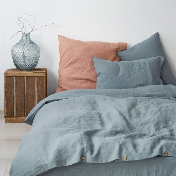 Blue Fog Washed Linen Bed Set - Lithuania