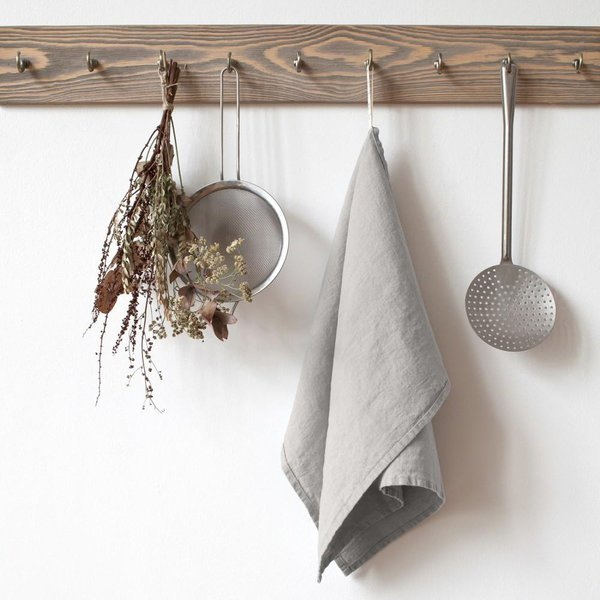 Silver Washed Linen Tea Towel - Lithuania