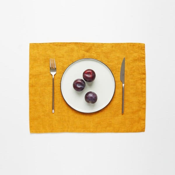 Mustard Washed Linen Placemat - Lithuania