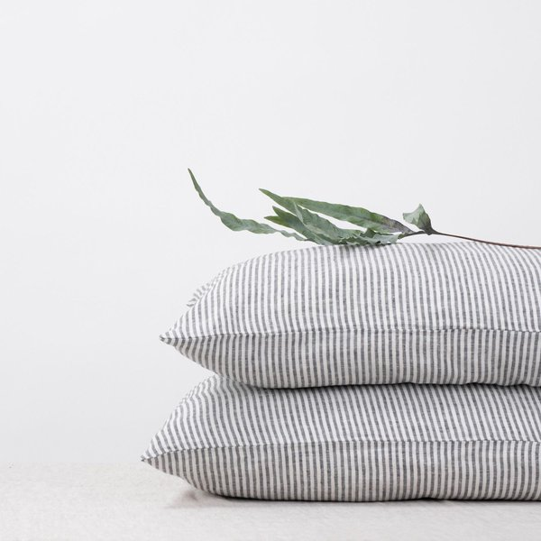 Thin Black Stripes Linen Pillow Case - Lithuania