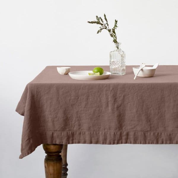 Nutmeg Washed Linen Tablecloth - Lithuania