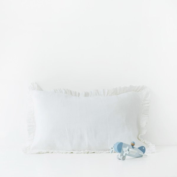 White Kids Frilled Washed Linen Pillow Case - Lithuania