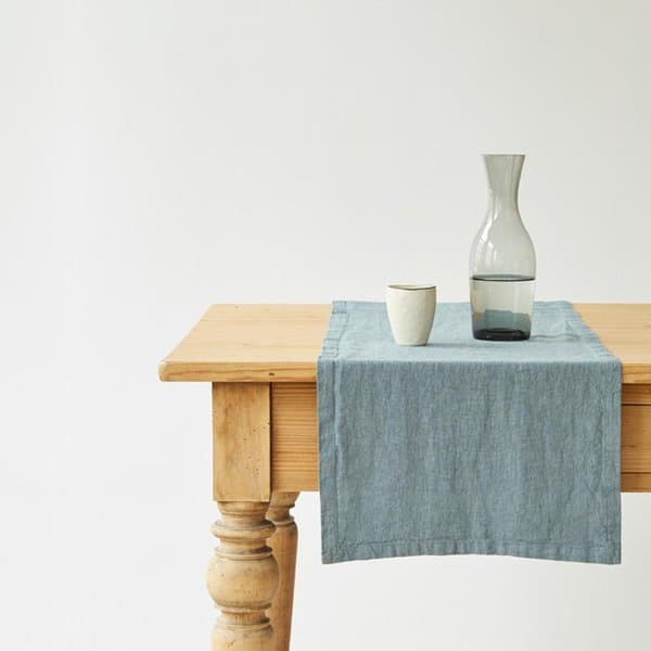 Blue Fog Washed Linen Table Runner - Lithuania
