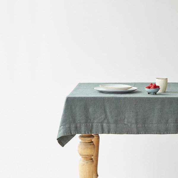 Forest Green Washed Linen Tablecloth - Lithuania