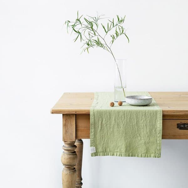 Leek Washed Linen Table Runner - Lithuania