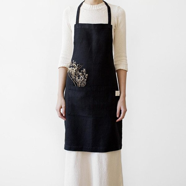 Black Washed Linen Apron - Lithuania