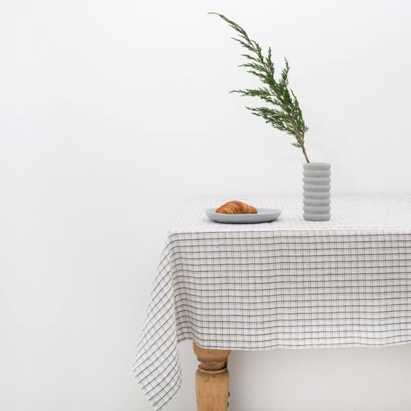 Grey Checks Washed Linen Tablecloth - Lithuania