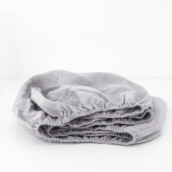 Light Grey Kids Washed Linen Fitted Sheet - Lithuania