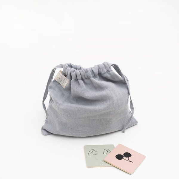 Light Grey Kids Washed Linen Toiletry Bag - Lithuania