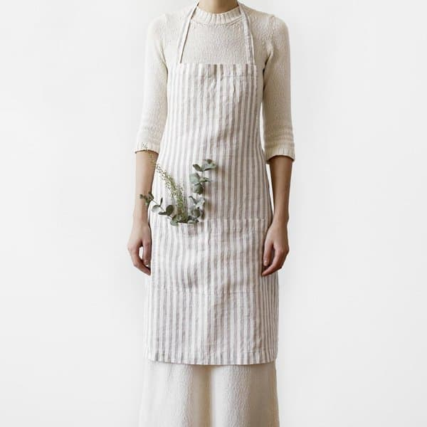 Natural White Stripe Washed Linen Apron - Lithuania