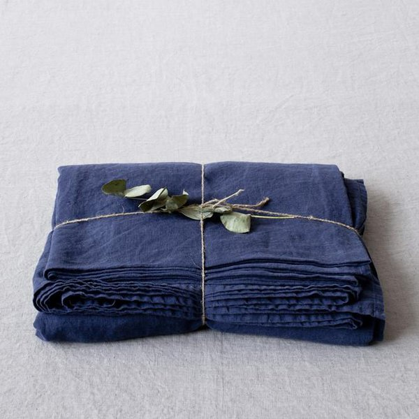 Navy Washed Linen Bed Sheet - Lithuania