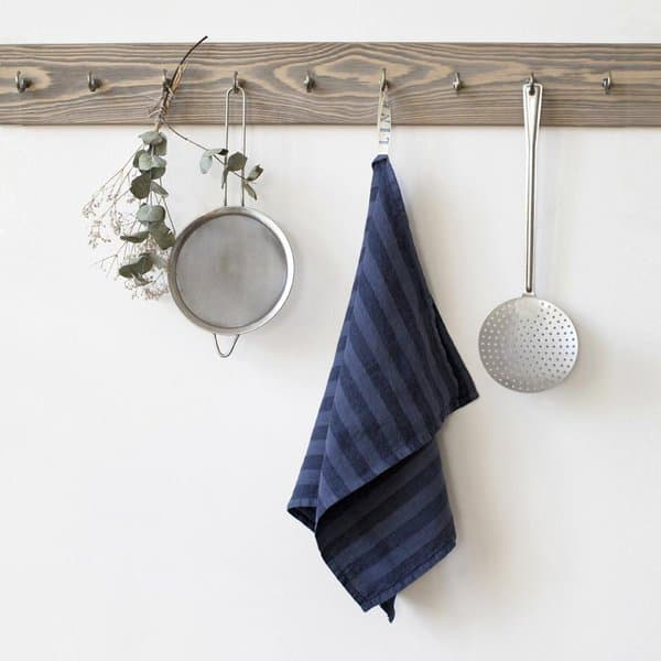 Midnight Blue Wide Stripes Washed Linen Tea Towel - Lithuania