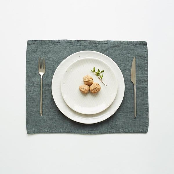 Forest Green Washed Linen Placemat - Lithuania