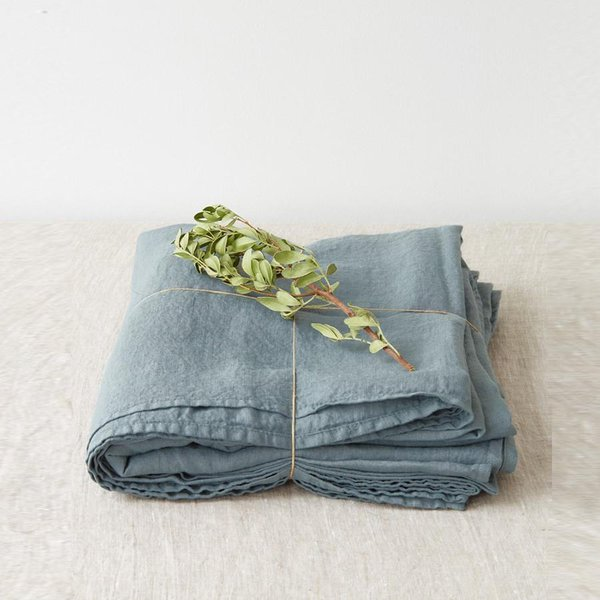 Blue Fog Washed Linen Bed Sheet - Lithuania