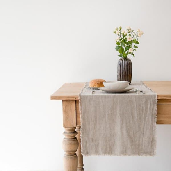 Natural Washed Linen Table Runner with Fringes - Lithuania