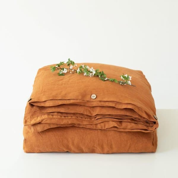 Almond Washed Linen Duvet Cover - Lithuania