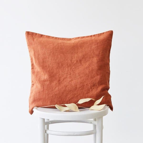 Baked Clay Washed Linen Cushion Cover - Lithuania