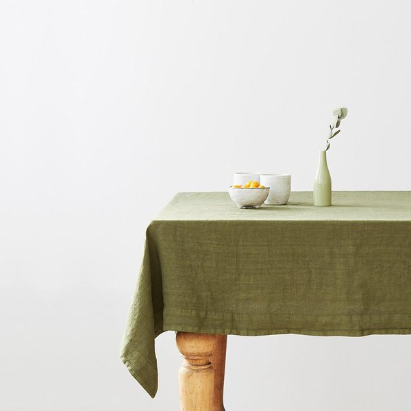Martini Olive Washed Linen Tablecloth - Lithuania
