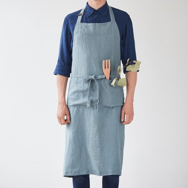 Blue Fog Washed Linen Chef Apron - Lithuania