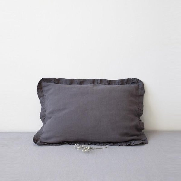 Dark Grey Frilled Washed Linen Pillow Case - Lithuania
