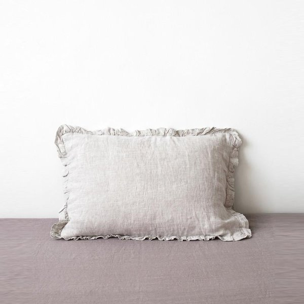 Melange Frilled Washed Linen Pillow Case - Lithuania