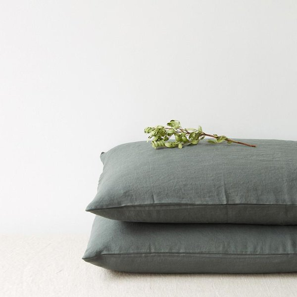 Forest Green Washed Linen Pillow Case - Lithuania