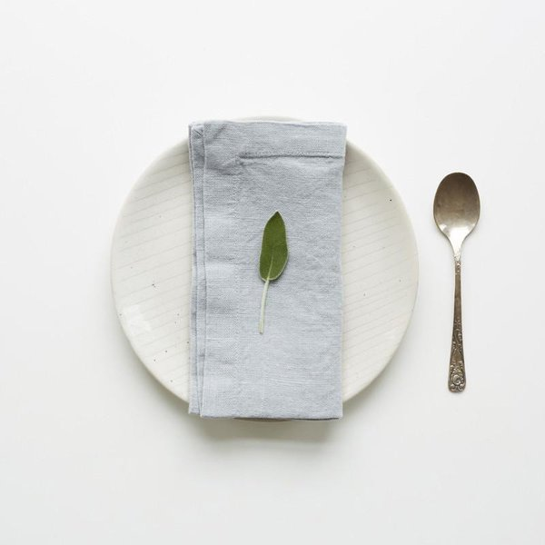 Set of 2 Light Grey Washed Linen Napkins - Lithuania