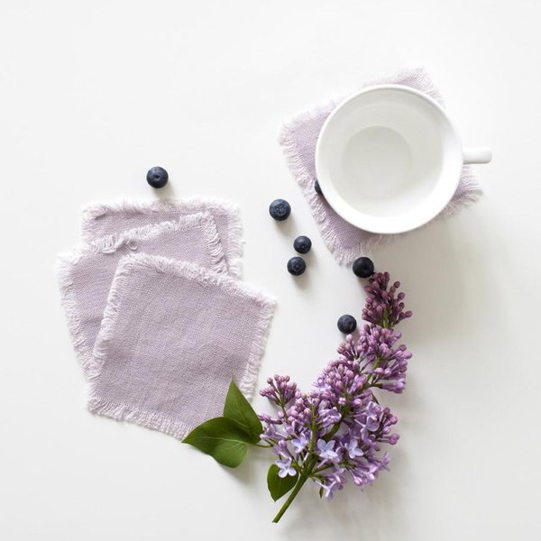 Set of 4 Pink Lavender Washed Linen Coasters with Fringes - Lithuania