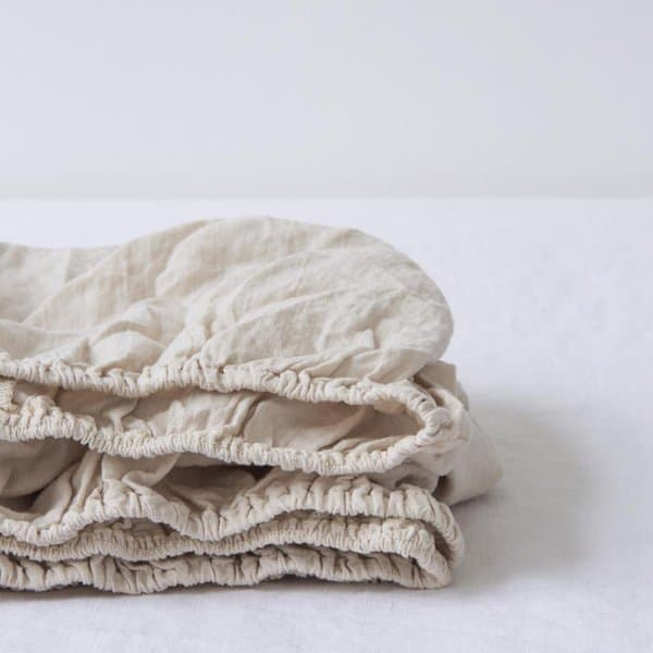 Special Edition | Beige Kids Washed Linen Fitted Sheet - Lithuania