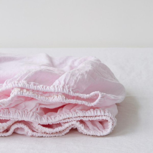 Special Edition | Heavenly Pink Kids Washed Linen Fitted Sheet - Lithuania