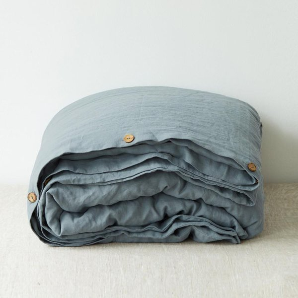 Blue Fog Washed Linen Duvet Cover - Lithuania