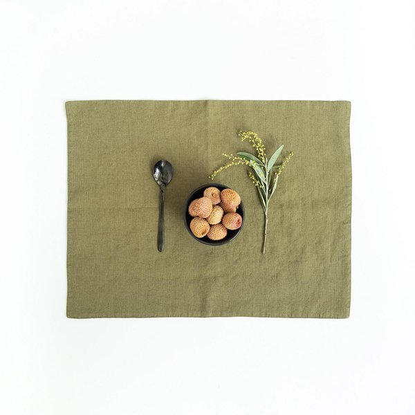 Martini Olive Washed Linen Placemat - Lithuania