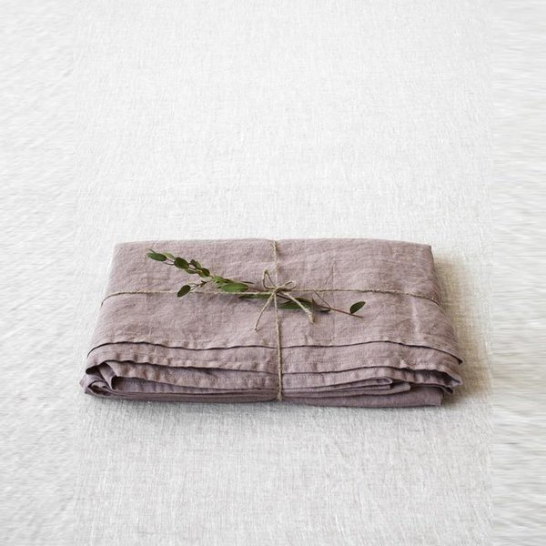 Ashes of Roses Washed Linen Bed Sheet - Lithuania