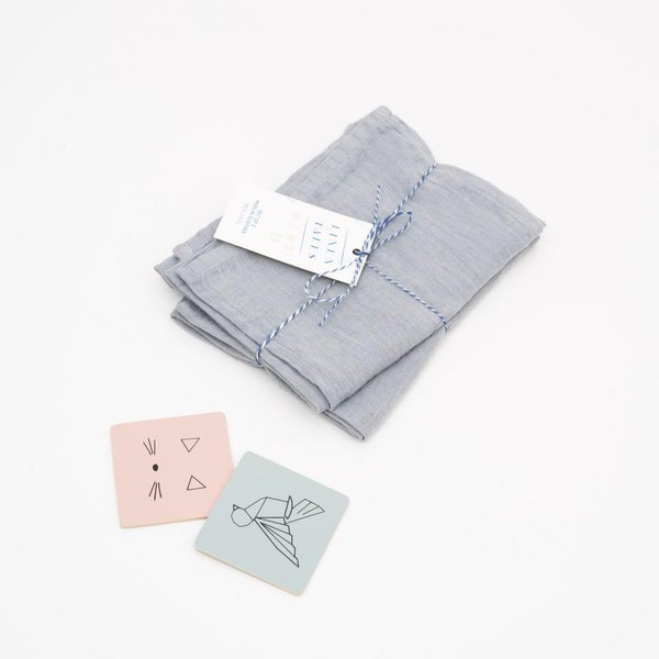 Set of 2 Light Grey Kids Washed Linen Muslin Cloths - Lithuania