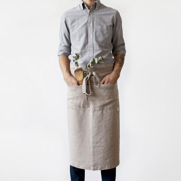 Natural Washed Linen Waist Apron - Lithuania