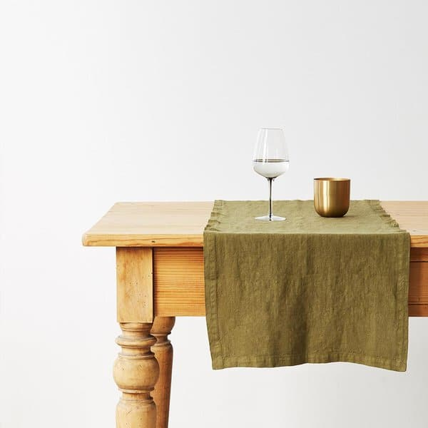 Martini Olive Washed Linen Table Runner - Lithuania