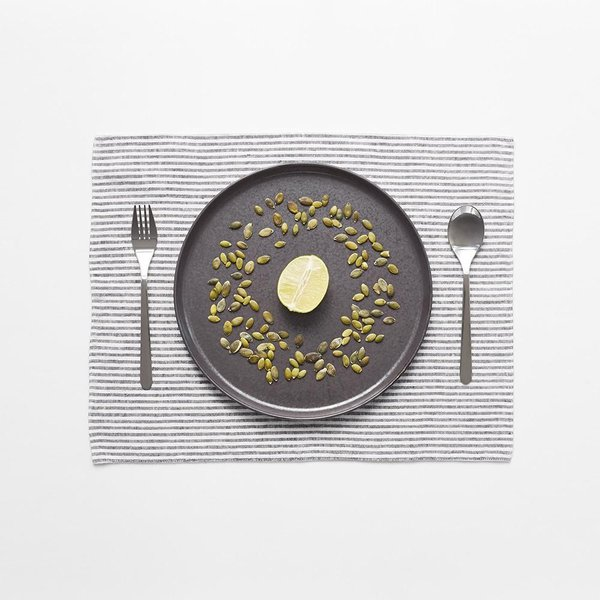 Thin Black Stripe Washed Linen Placemat - Lithuania