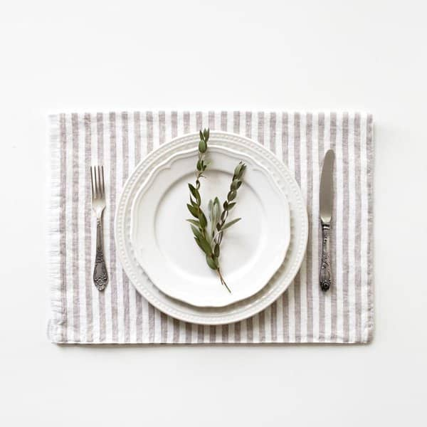 Natural Stripes Washed Linen Placemat - Lithuania