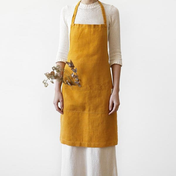 Mustard Washed Linen Apron - Lithuania