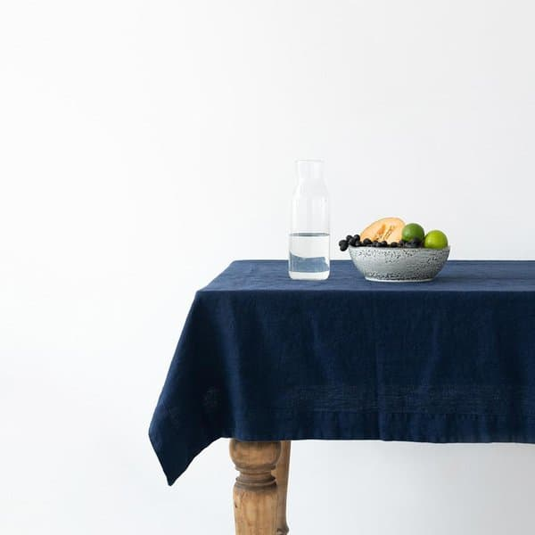 Navy Washed Linen Tablecloth - Lithuania