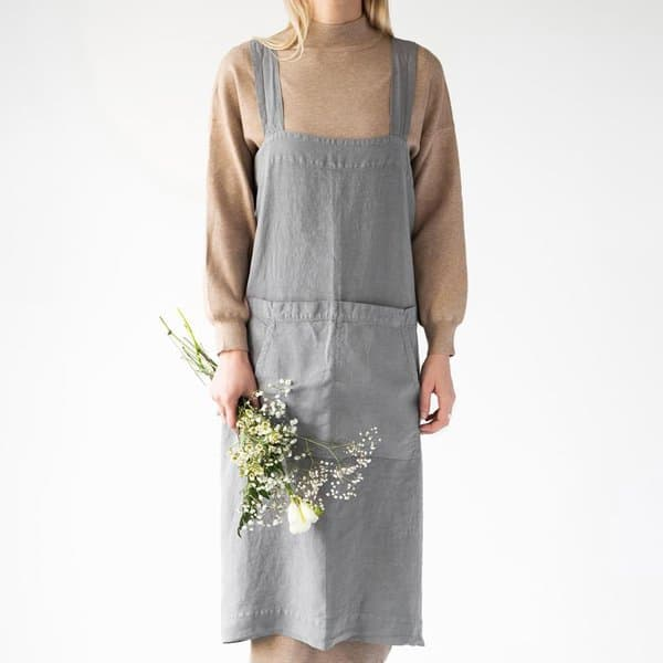 Ash Washed Linen Pinafore Apron - Lithuania
