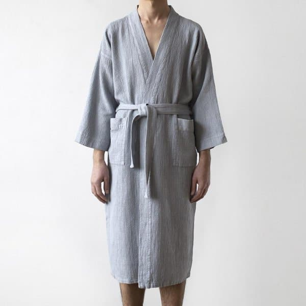Light Grey Waffle Linen Bathrobe - Lithuania