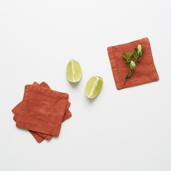 Set of 4 Baked Clay Washed Linen Coasters - Lithuania