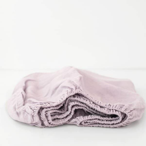 Pink Lavender Kids Washed Linen Fitted Sheet - Lithuania