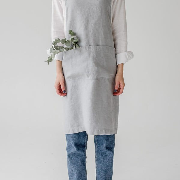 Light Grey Washed Linen Crossback Apron - Lithuania