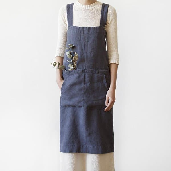 Dark Grey Washed Linen Pinafore Apron - Lithuania