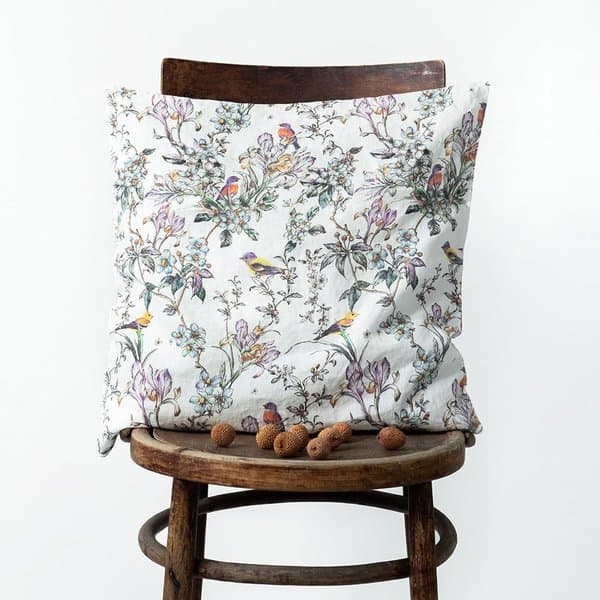 Birds Print Washed Linen Cushion Cover - Lithuania
