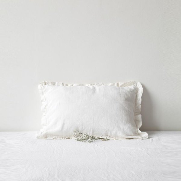 White Frilled Washed Linen Pillow Case - Lithuania