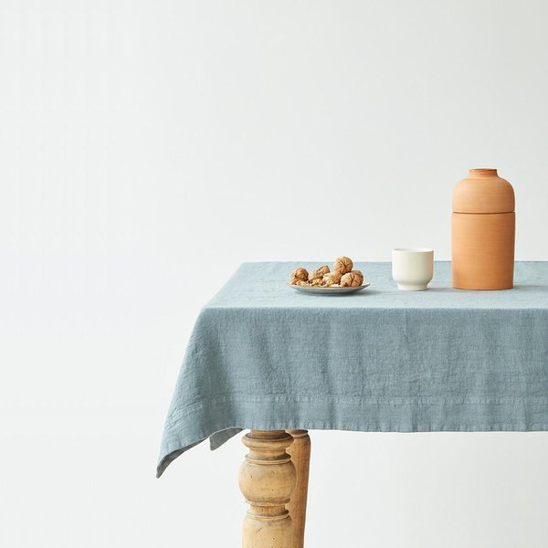 Blue Fog Washed Linen Tablecloth - Lithuania