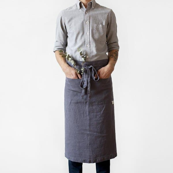 Dark Grey Washed Linen Waist Apron - Lithuania